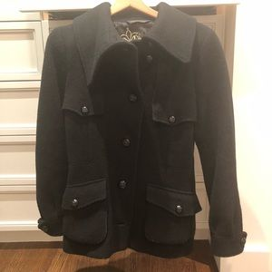 Mackage Black Wool Peacoat